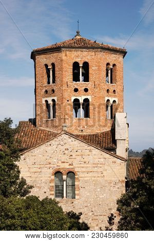 Bell Tower Of The Church Of Santo Stefano (st. Stephen V-xii Century) In Romanesque Style. Verona, V