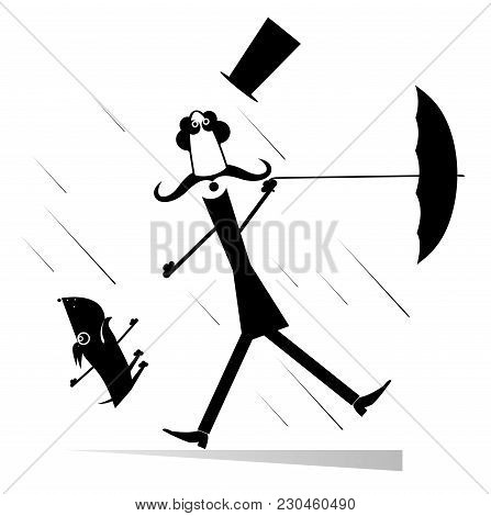 Strong Wind, Mustache Man In The Top Hat With Umbrella And A Dog Illustration. Mustache Man In The T