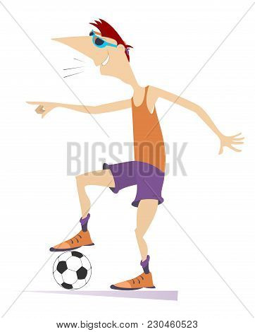 Cartoon Running Football Player Is Taking Off The Football Shirt. Cartoon Football Player Laughs And