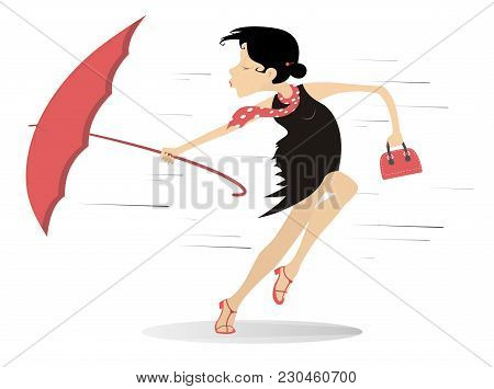 Windy Weather, Young Woman And Umbrella Illustration. Pretty Young Woman With A Handbag And An Umbre