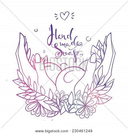 Blue And Violet Gradient Lettering Logo Hand Made Soap With Hands, Bubbles, Leaves And Flowers On Th