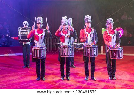 Kiev, Ukraine. March 1 2018. A Group Of Drummers Perform At A Concert. Drummers In The Circus Arena