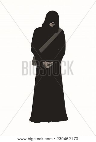 Vector Illustration Of Man Wanderer In The Brown Poor Monk Robe With Arms Crossed, Face Hidden Under