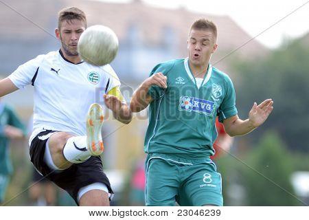 KAPOSVAR, HUNGARY - AUGUST 27: Milan Korona (green 8) in action at the Hungarian National Championship under 18 game between Kaposvar (green) and Gyor (white) August 27, 2011 in Kaposvar, Hungary.