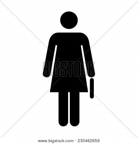 Woman Icon Vector Female Symbol Of Business Person Sign With Briefcase In Glyph Pictogram Illustrati