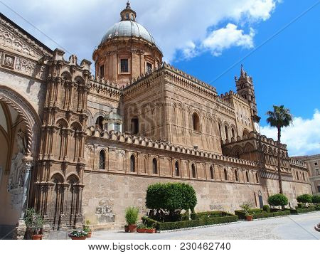 Palermo Cathedral Church Detail In Sicily, Towers Of Medieval Building In Italy With Cloudy Blue Sky