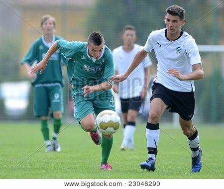 KAPOSVAR, HUNGARY - AUGUST 27: Konrad Kiss (green 4) in action at the Hungarian National Championship under 18 game between Kaposvar (green) and Gyor (white) August 27, 2011 in Kaposvar, Hungary.