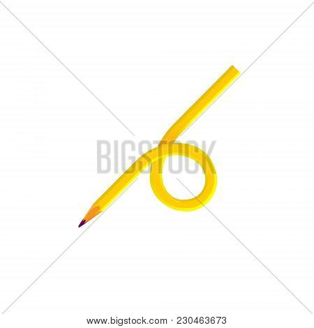 Pencil Wooden Sharp Transformed Yellow, Amber, Isolated On White Background, Vector Illustration.