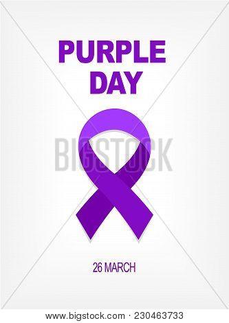 Purple Day Card 26 March. Purple Ribbon World Epilepsy Day On The Grey Background. Vector Illustrati