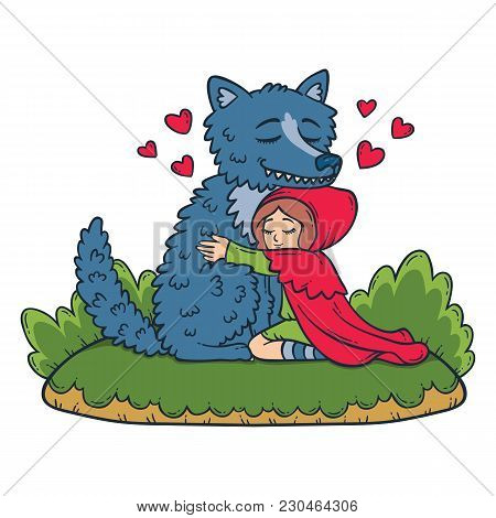 Little Red Riding Hood. Big Bad Wolf And Little Red Riding Hood. Children Illustration.