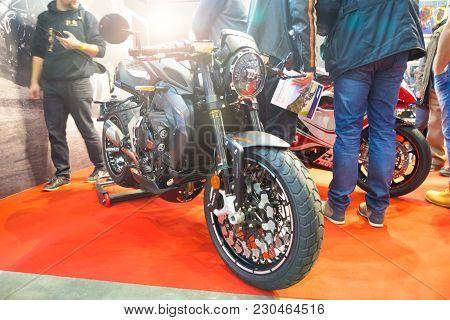 Prague, Czech Republic - 09.03.2018: Modern Motorcycle On Motorcycle Exhebition In Brno, Czech Repub