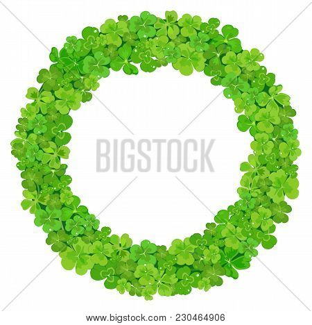 Wreath Of Green Leaves Of Clover. Vector Illustration.