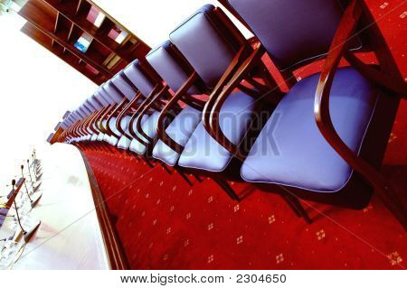 Blue Chairs In The Conference Room