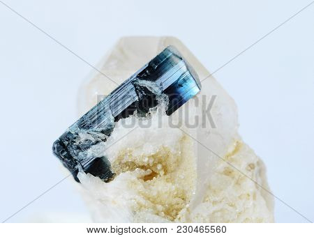 Gemstone Blue Tourmaline Indigolite In Matrix From Pakistan