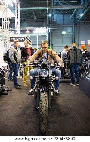 Prague, Czech Republic - 09.03.2018: Man On Modern Motorcycle On Motorcycle Exhebition In Brno, Czec