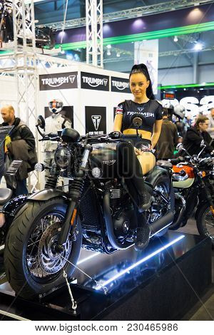 Prague, Czech Republic - 09.03.2018: Girl On Modern Motorcycle On Motorcycle Exhebition In Brno, Cze