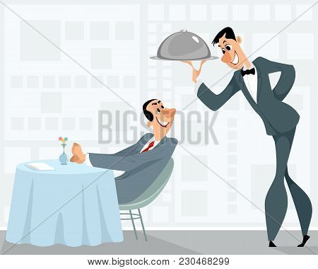Vector Illustration Of A Waiter And A Satisfied Customer