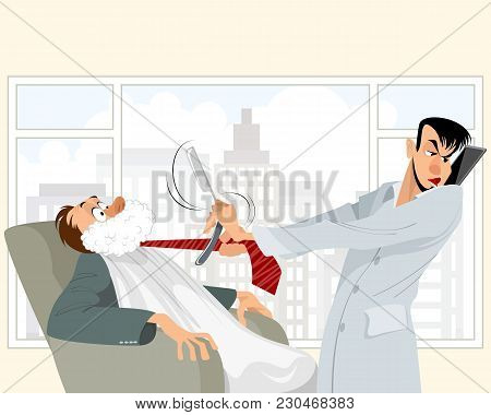 Vector Illustration Of A Funny Situation In Barbershop
