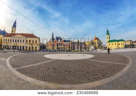 Oradea,romania-january 27,2018:the Union Square With Historical Buildings. City Hall,palace Of The G