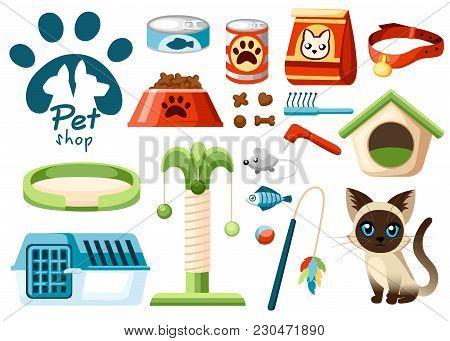 Set Of Pet Shop Icons. Accessories For Cats. Flat Vector Illustration. Feed, Toys, Bowl, Collar. Pro