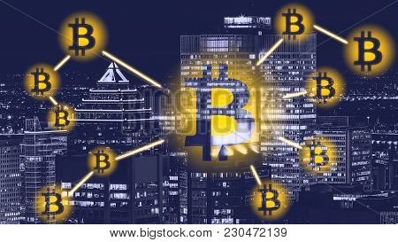 Bitcoin Sign On City - Montreal. Bitcoin And Blockchain Technology Concept.  Bitcoin Network With A