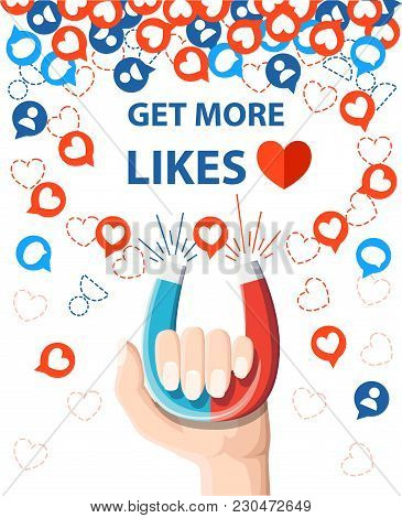 Get More Likes. Hand Hold Horseshoe Magnet Pulling Or Get Many Likes. Seo Concept. Vector Illustrati