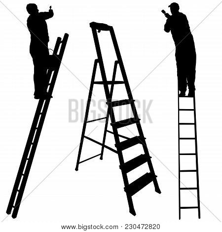 Silhouette Worker Climbing The Ladder On White Background.