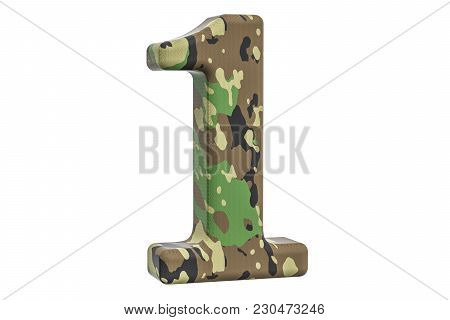 Camouflage Army Number 1, 3d Rendering Isolated On White Background