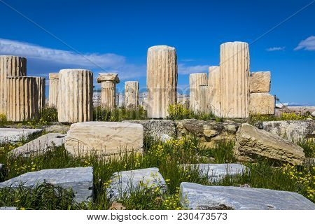 Remains And Ruins Of Pantheon In Acropolis Athens