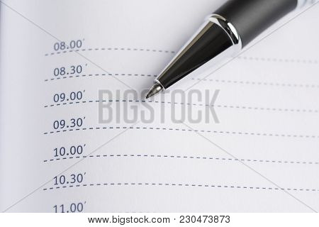 Daily Planner With A Metal Ballpoint Pen