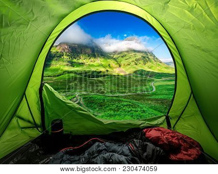 Camping At Glencoe In Highland In Summer, Scotland