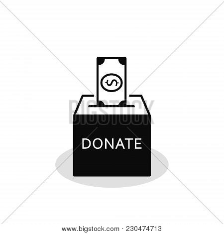 Donation Box Icon In Flat Style Isolated On White Background, Vector Isolated Illustration.