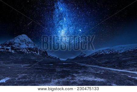 Milky Way And Highlands In Scotland At Night