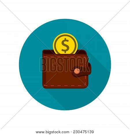 Wallet Icon Isolated In Circle, Wallet With Coin Money Flat Design.
