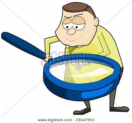 man with big magnifying glass