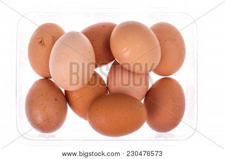 Fresh Colored Chicken Eggs In Plastic Box. Studio Photo