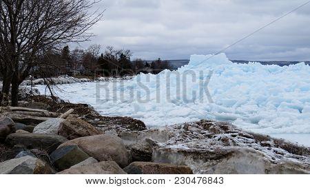 The Blue Ice Phenomenon On The Coast Of Georgian Bay In Meaford, Ontario, Canada