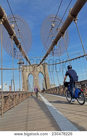 New York City, Usa, September 11, 2017 : Brooklyn Bridge. The Brooklyn Bridge Is A Hybrid Cable-stay
