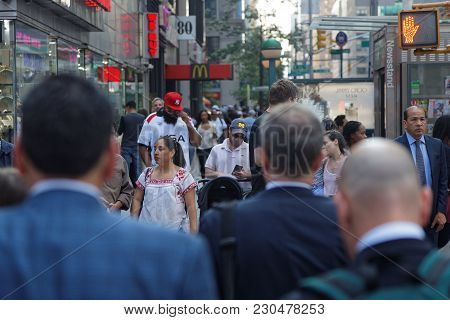New York City, Usa, September 11, 2017 : Crowd In The Streets Of Manhattan. Manhattan Is The Most De
