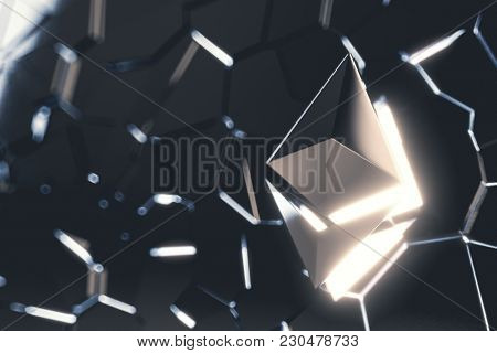 Ethereum coin logo over collapsing black surface. 3D render.