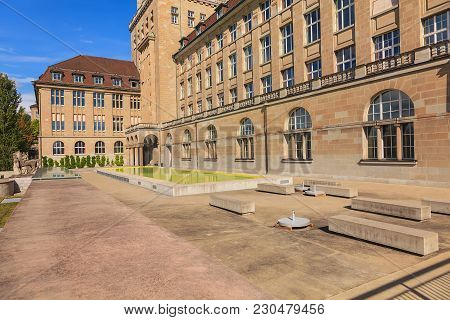Zurich, Switzerland - 13 October, 2013: The Square In Front Of The Main Building Of The University O