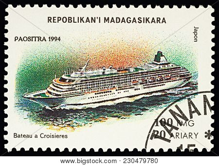 Moscow, Russia - March 11, 2018: A Stamp Printed In Madagascar Shows Japanese Cruise Ship, Series