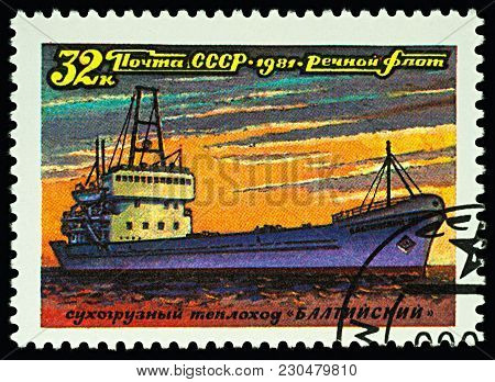 Moscow, Russia - March 10, 2018: A Stamp Printed In Ussr (russia) Shows Dry Cargo Ship