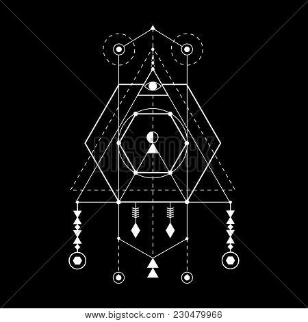 Sacred Geometry Forms. Magical Totem. Alchemy, Religion, Philosophy, Hipster Elements And Logo.
