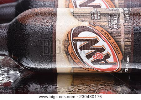 Irvine, California - March 10,  2018: A And W Root Beer Bottles Closeup. Owned By Dr Pepper Snapple