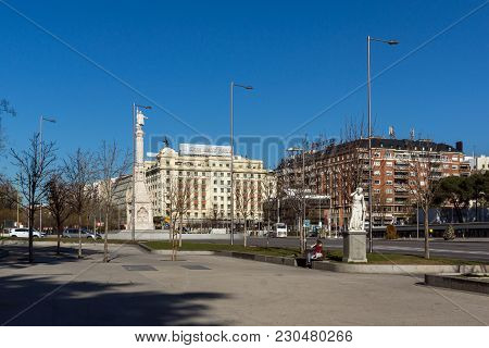 Madrid, Spain - January 21, 2018: Monument To Columbus And Columbus Towers At Plaza De Colon In City