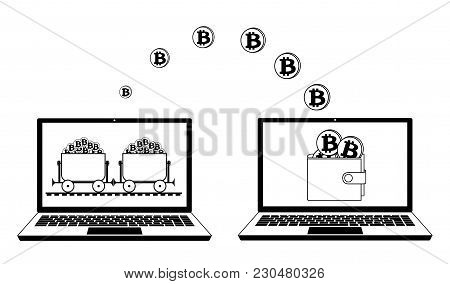 Mining Bitcoin And Transfer In The Wallet On The Laptop,mining Trolley With Bitcoin In The Laptop,bi