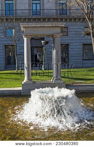 Madrid, Spain - January 21, 2018: Fountain At Paseo De La Castellana Street In City Of Madrid, Spain