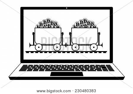 Mining Trolley With Bitcoin In The Laptop, Trolley With Crypto Currensy