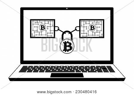 Bitcoin Block Chain Technology In The Laptop   ,disign Concept  Black And White With Security Lock